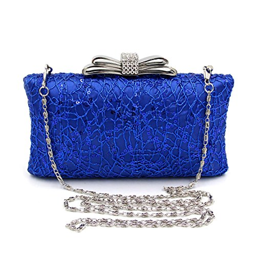 Evening Rhinestone Bag KYS Polyester Satin Bags Wedding blue Crystal Bags Women's wxCqfC7p