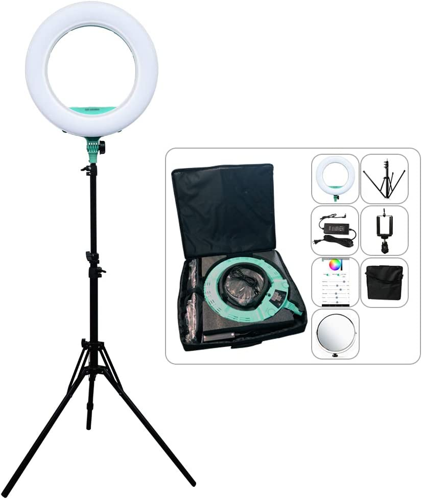 Light Stand Carrying Bag for Camera,Smartphone,YouTube,Self-Portrait Shooting D Green Kit Yidoblo Ring Light Kit:18//48cm Outer 48W 2800K-9900K Dimmable LED Ring Light