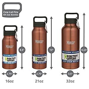 Healthy Human Insulated Stainless Steel Water Bottle Thermos - Ideal for Sports, Outdoors, Men, Women & Kids. Leak Proof. Cold 24 Hours - Sunset Gold - 21 oz