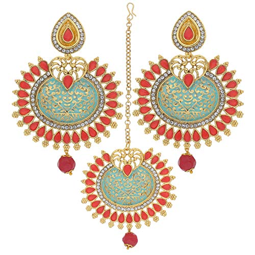 I Jewels Indian Gold Plated Traditional Kundan Ethnic Bollywood Style Party Wear Enamel Earrings with Maang Tikka For Women (TE2014)