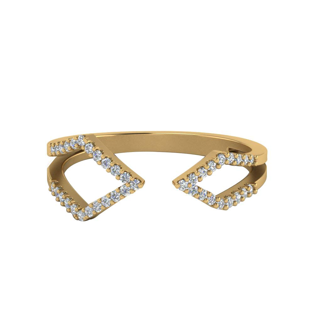 DTJEWELS Fancy Adjustable Ring for Womens 0.2 Ct Round Cut Sim Clear Diamond in 14K Gold Plated 925
