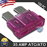 100 Pack 35 AMP ATC/ATO Standard Regular Fuse Blade 35A Car Truck Boat Marine RV