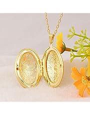 صورة دلاية من النحاس قلادة، زوجان بيضاويان، مطلية بالذهب عيار 18 قيراط، مجوهرات ازياء للجنسين