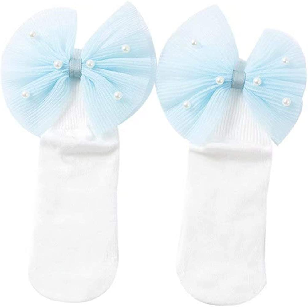 Toddler Kids Baby Girl Princess Bowknot Socks with Lace Ruffle Frilly Trim 1-8 Y