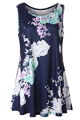(Viracy Floral Sleeveless Tops for Women Ladies Swing Tunic Casual Summer Round Neck Petite Flowy Tank Loose Fitting Printed Leggings Shirts Curve Hem Blue Flower M)