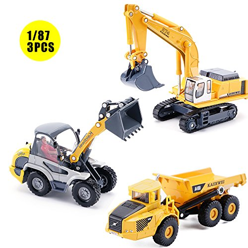 1/87 Scale Diecast Mini Construction Toys, Dump Truck, Excavator, Radlader, Metal Engineering Vehicles Play Set For Boys Girls, Best Toy Gift Kids Ages 3yr - 6yr, 3 Years and Up(Pack of 3)