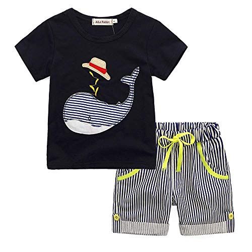 Tanhangguan Baby Girl Boy Clothes Cute Cartoon Whale Print T-Shirt Top and Stripe Shorts Pants Sunsuit Outfits Set Summer