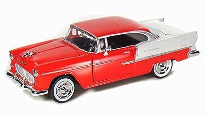 Motormax 1955 Chevy Bel Air 1 24 Scale Diecast Model Car Red