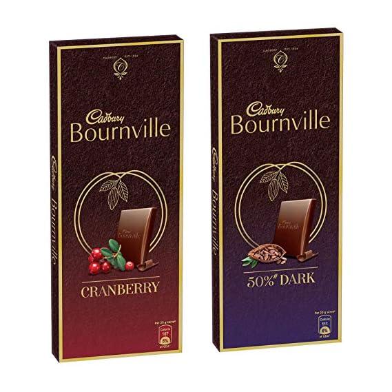 Cadbury Bournville Rich Cocoa Dark Chocolate Bar, 80 gm (Pack of 5) & Bournville Cranberry Dark Chocolate Bar, 80g (Pack