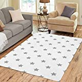Semtomn Area Rug 2' X 3' Gray Pattern Stars Abstract Baby Cartoon Children Home Decor Collection Floor Rugs Carpet for Living Room Bedroom Dining Room