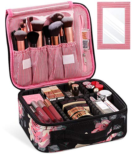 Syntus Travel Makeup Bag with Mirror, Portable Train Cosmetic Case Organizer with Adjustable Dividers Large Capacity for…