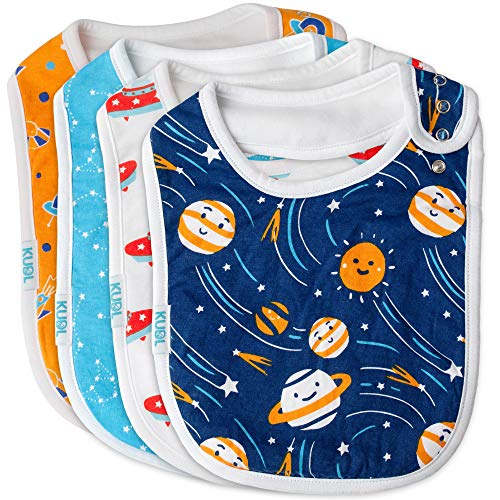 Baby Bibs Large Burpy Cloth 4 Pack Gift Set Soft Absorbent Feeding Reflux Drool Teething Bibs, Adjustable Snap Buttons, Funny Designs for Boys & Girls (Space) from KUDL
