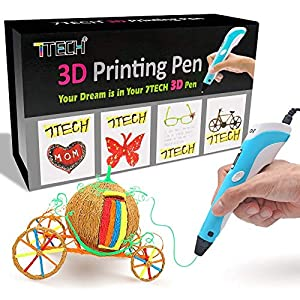3D Pen, 7TECH 3D Printing Drawing Printer Pen w/LCD Screen Free 280 Stencil eBook Bonus Filament Refills for 3D Art Craft Models DIY Design Perfect Gift by 7TECH