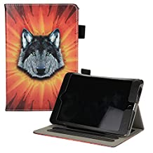 UUcovers iPad Mini 1/2/3 Heavy Duty Case, Synthetic Leather Stand Folio Smart Cover with [Auto Sleep/Wake Feature] [Card Slots] [Stylus Holder] Wildlife Case for Apple iPad mini 1/2/3/4, Wolf