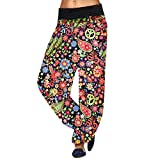 CCatyam Plus Size Pants for Women, Harem Trousers Baggy Print Loose Leggings Casual Fashion Red