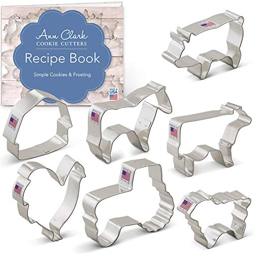 Cow Cookie Cutter - Farm Cookie Cutter Set with Recipe Booklet - 7 piece - Rooster, Cow, Pig, Lamb, Horse, Barn and Tractor - Ann Clark - Tin Plated Steel