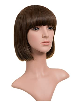 LeahWard 10 quot  Women s Bob Wig With Fringe Classic Synthetic Hair 56367  (Warm Brunette 2 3524e0cbc