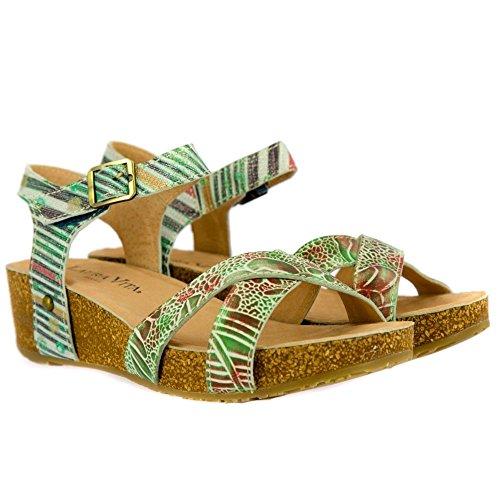 Laura Vita Bingo 02 Vert Low Wedge Sandals Green IqRD3