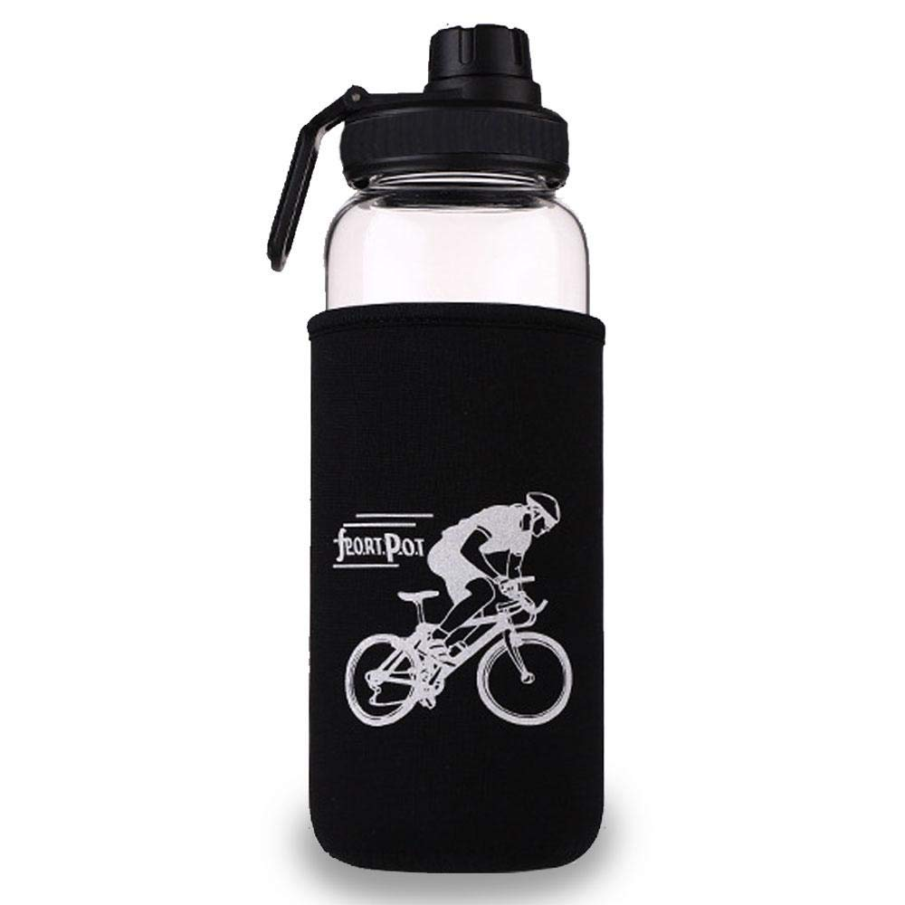 KOBWA Botella de Cristal para Agua con Bolsa Protectora, 700 ML/ 1 L Borosilicato Botella de Cristal Deporte Portátil para Sport Fitness Gym Gimnasio Yoga Oficina (Blanco- 1L)