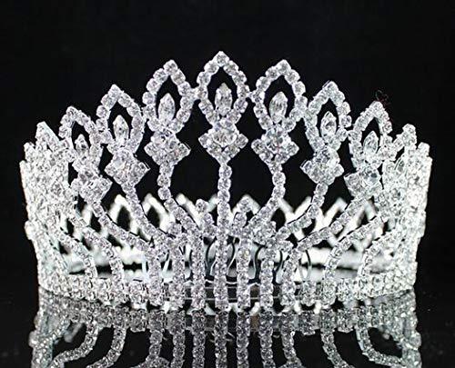 Genuine Austrian Crystal Pin - Janefashions Floral Full Crown Clear Austrian Rhinestone Crystal Tiara Pageant Prom Lg T1406 Silver