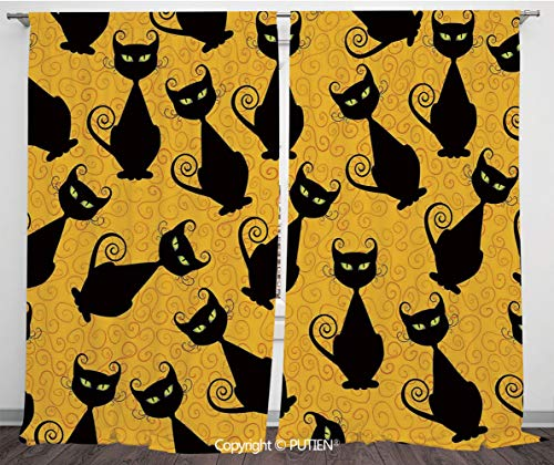 Satin Window Drapes Curtains [ Vintage Decor,Black Cat Pattern on Orange Background Halloween Witch Pet Graphic Decorative,Black Orange ] Window Curtain Window Drapes for Living Room Bedroom Dorm Room]()