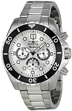 amazon com invicta signature ii chronograph steel silver dial invicta signature ii chronograph steel silver dial mens watch 7368