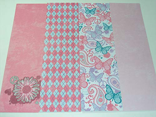 Scrapbooking Cardstock Sheets, Glitter Flower/Peace Sign, Butterflies ()