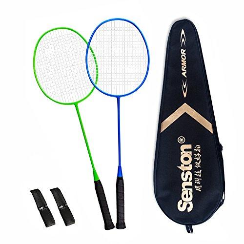 Senston S-200 Matte Badminton Racket Set Graphite Badminton Rackets (Blue Green) Full Carbon Badminton Racquet Set with Racket Cover
