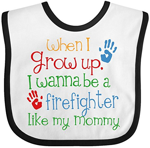 Inktastic - Firefighter Like Mommy Baby Bib White/Black - Future Baby Firefighter Bib