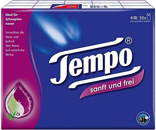 Tempo Taschentücher Klassik, 4-lagige Papiertücher in bewährter Tempo Qualität (Taschentücher: 4 lagig 30 x 9Stk = 270St)