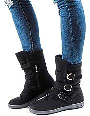 Botas Invierno Mujer Botines Serraje Planas Cremallera Hebilla Botas Bajo Calientes Cómodos Casual Boots Marrón Oscuro EU 37