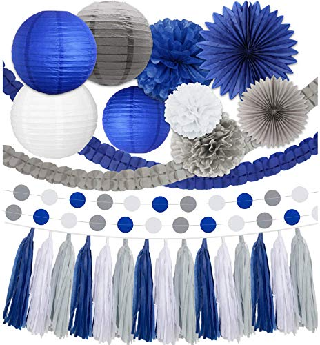 Blue Party Decorations. Royal Blue, White, Charcoal Grey Party Supplies: Paper Pompoms, Lanterns, Fans, Tassels, and Dot Garlands for Wedding, Bridal Shower, Birthday Party, Baby Shower, or Any Event