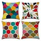 Coloured Geometric Decorative Throw Pillow Covers U-LOVE Square...