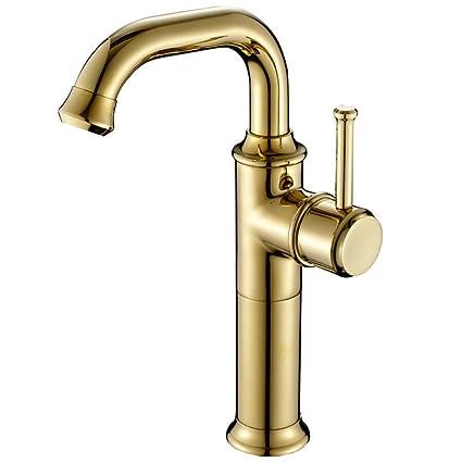 Zkkd Gold Kitchen Faucet Brass Faucet Single Handle One Hole Deck