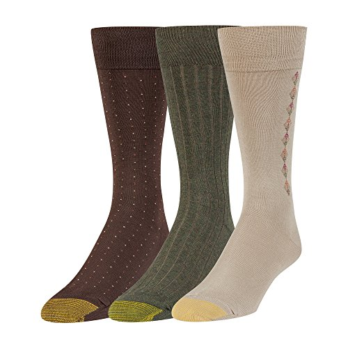 Gold Toe Men's Big and Tall Dress Crew Socks, 3 Pairs, Khaki/Olive/Brown, Shoe Size: 12-16