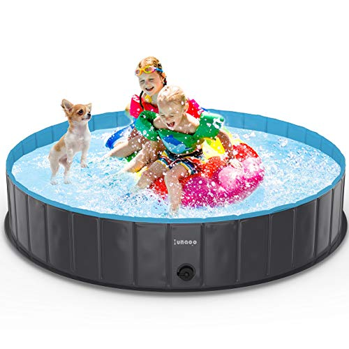 lunaoo Hundepool Schwimmbecken Für Kleine & Große Hunde, Faltbare Hund Planschbecken, Hundebadewanne, Planschbecken für Kinder und Hunde, Eco-Friendly PVC Hundepool 80cm / 120cm / 160cm