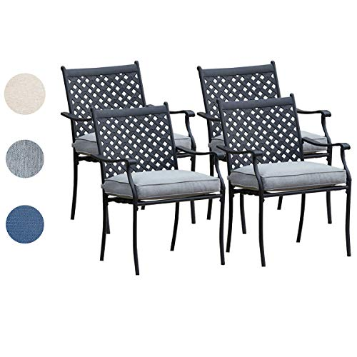 Top Space Metal Dining Chair Indoor Outdoor Use Patio Dinning Chairs Set,Dining Bistro Cafe Side Metal Chairs Set of 4 with Arms and Seat Cushions(4 PC, Grey)
