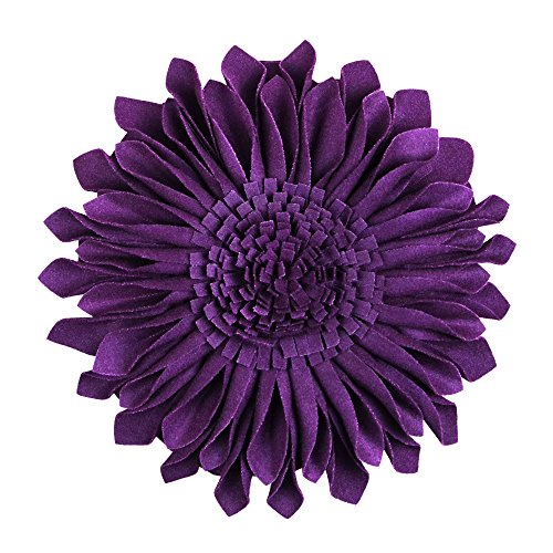 JW Handmade 3D Sun Flowers Accent Pillows Round Cushions for Home Sofa Car Office Chair Bed Decoration Wool Purple 12 Inch / 30 CM