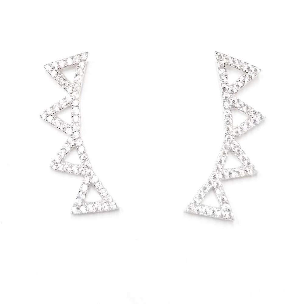 Sterling Silver Ear Crawler Cuff Earrings - Ear Climber Jacket Studs - 100% Hypoallergenic Jewelry by Tisoro (Image #1)