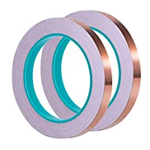 eBoot 1/ 4 Inch Copper Foil Tape with Dual Conductive Adhesive 21.8 Yards for EMI Shielding, Slug Repellent, Crafts, Electrical Repairs, 2 Pack