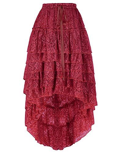 Belle Poque Women Wine Victorian Gothic Skirt High Low Steampunk Pirate Accessories BP782-2 S Wine
