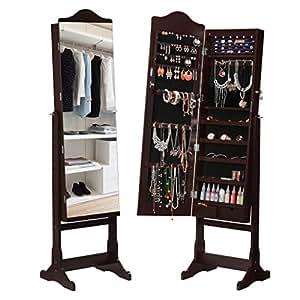 Langria espejo joyero de pie con espejo extra ancho armario lacado para anillos pendientes - Luces para armarios ...