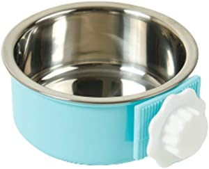 THAIN Crate Dog Bowl Removable Stainless Steel Hanging Pet Cage Bowl Water Food Feeder Coop Cup for Cat, Puppy, Birds, Rats, Guinea Pigs