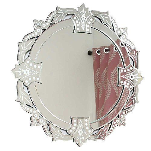 IndianShelf Handmade Vintage Decorative New Design Glass Wood and Iron Venetian Round Wall Mirror in Cut & Etched Glass Mirror - Round Glasses India Frame