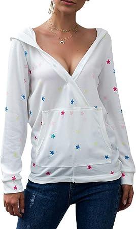 DDbrand Mujer Estampado Estrellas Camisa Blusa Cuello en V Manga Larga Informal Holgado Suéter con Capucha - Blanco, Large: Amazon.es: Hogar