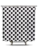 Black and White Polka Dot Shower Curtain, 70in X 78in 100% Polyester - Mildew and Wrinkle Resistant, Bold Classic Pattern Fabric Shower Curtain