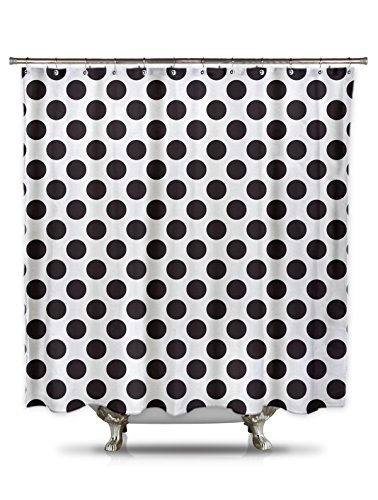 Black and White Polka Dot Shower Curtain, 70in X 78in 100% Polyester - Mildew and Wrinkle Resistant, Bold Classic Pattern Fabric Shower Curtain ()