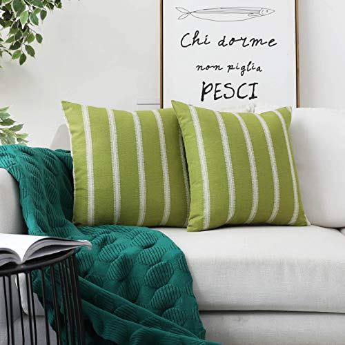 - HOME BRILLIANT 2 Pack Modern Farmhouse Decorative Throw Pillow Covers Classic Country Cushion Covers for Sofa Couch Bench Outdoor, 18 x 18 inches(45x45cm), Lime Grass
