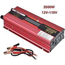 iMeshbean Portable Car LED Power Inverter 2000W Watt DC 12V to AC 110V Charger Converter (DC 12V to AC 110V 2000W)