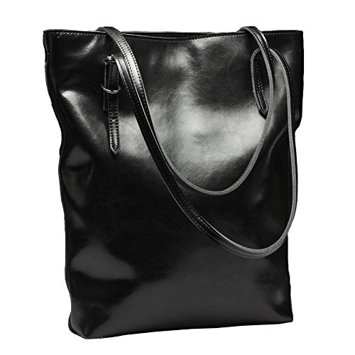 Covelin Women's Handbag Genuine Soft Leather Large Tote Shoulder Bag Hot Black (Large Textured Leather Tote)